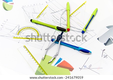 Drawing tools with compass, for construction, informatics, architectural and other projects - stock photo