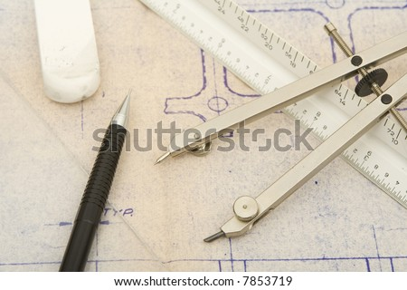 drawing tools with old blueprint background