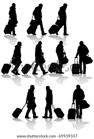 drawing travelers with suitcases. Silhouettes on white background - stock photo