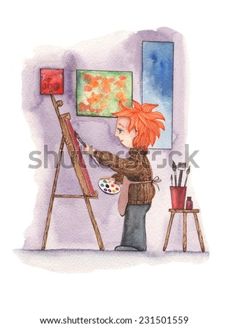 Drawing watercolor paints a picture of a guy with a brush and paints watercolor painting on white background - stock photo