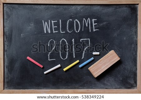 drawing welcome 2017 human hand write stock photo edit now
