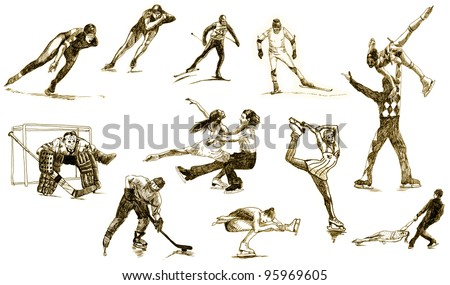 drawing with a sharp tip marker - Winter Sports - a collection - stock photo