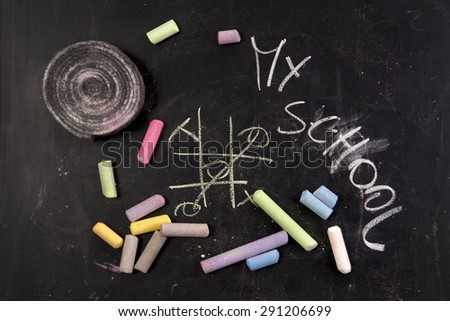 Drawing with chalk on the blackboard to represent the beginning of new school year  - stock photo