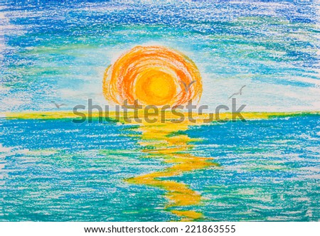 Drawing with crayons. Sunset - stock photo