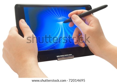 drawing with pen on touch computer - stock photo