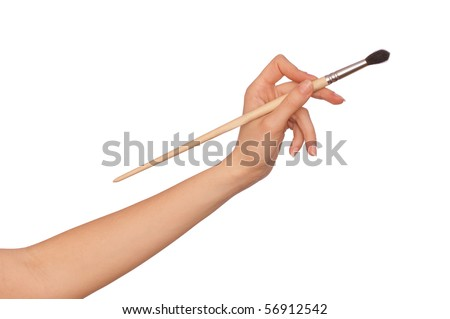 drawing woman's hand with a black brush