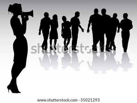 drawing women with megaphones. Silhouette on white background - stock photo