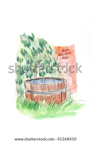 Drawing: wooden bath-tub for spa - stock photo