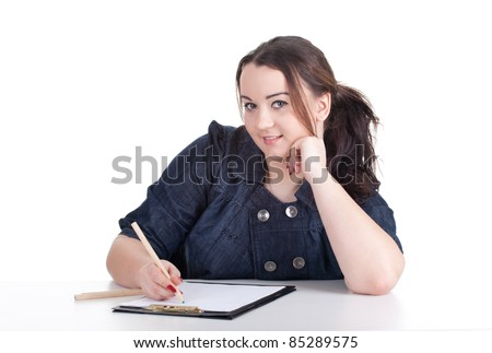 drawing young fat woman in dark blouse with clipboard - stock photo