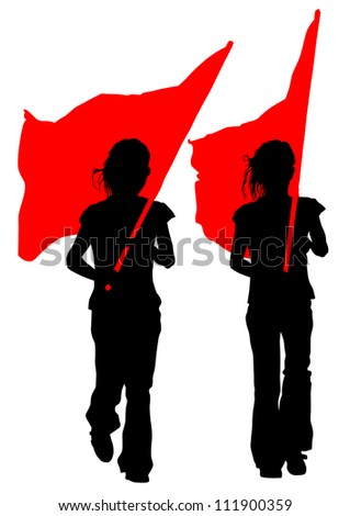 drawing young women and flags - stock photo
