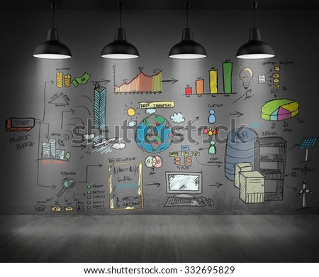 Drawings and graphics drawn on a wall - stock photo