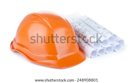 Drawings and hard hat isolated on white - stock photo