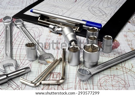 drawings and tools, selective focus - stock photo