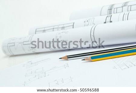 Drawings and various tools - stock photo