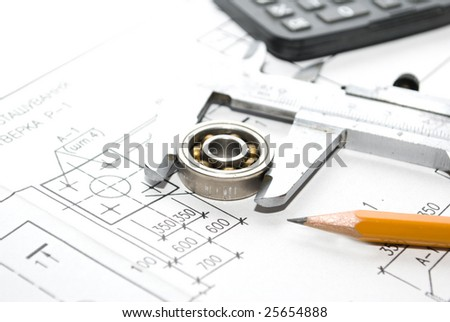 Drawings and working tools - stock photo