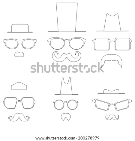 Drawings glasses mustache and hats. Raster - stock photo
