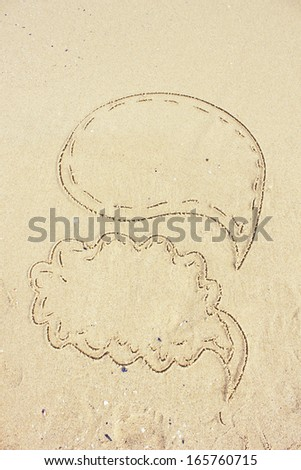 Drawings in the sand. Thought-clouds image with empty space for text/ Speech bubbles - stock photo