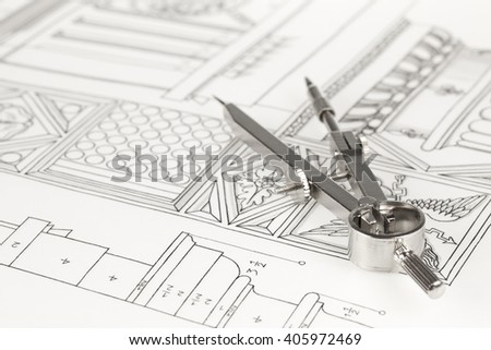 drawings of architectural details - columns element & compass - stock photo