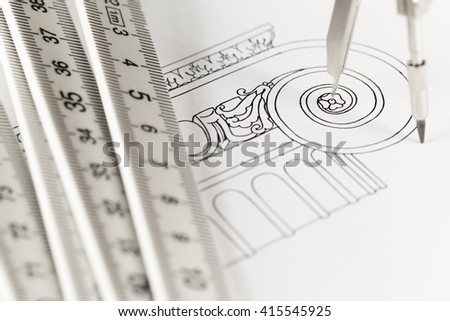drawings of architectural details & folding ruler, compass - stock photo