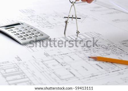 drawings of building homes and Tools - stock photo