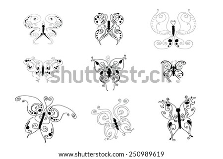 Drawings of various butterflies on white background - stock photo