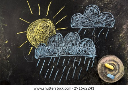 Drawings on the blackboard with chalk representatives symbols used to identify the weather forecast - stock photo