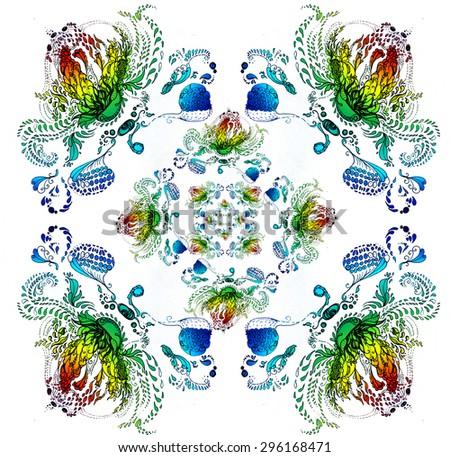 Drawn Artistic floral pattern - stock photo