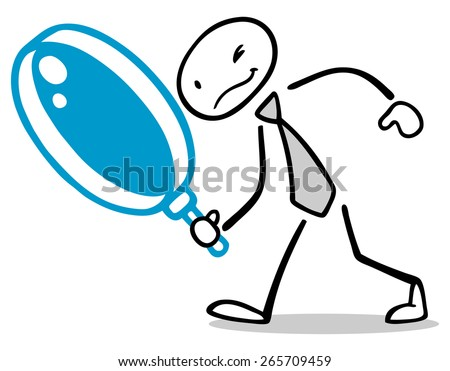 Drawn business man with big magnifying glass searching for solution - stock photo