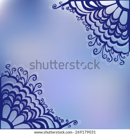 drawn by hand lace ornament, abstract background. Template wavy frame design for card - raster copy illustration - stock photo