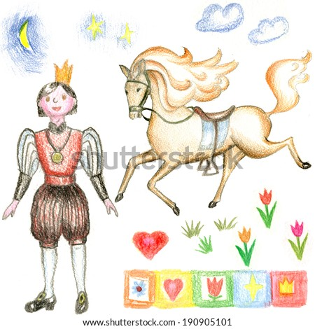 drawn by hand with colored pencils set  prince and horse