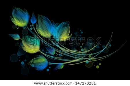 Drawn composition of neon bright bouquet. Flower fantasy on black background.