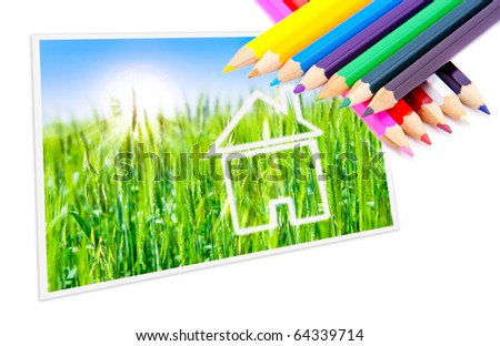 Drawn dream house on a background of green fields and sunny sky, colored pencils. - stock photo