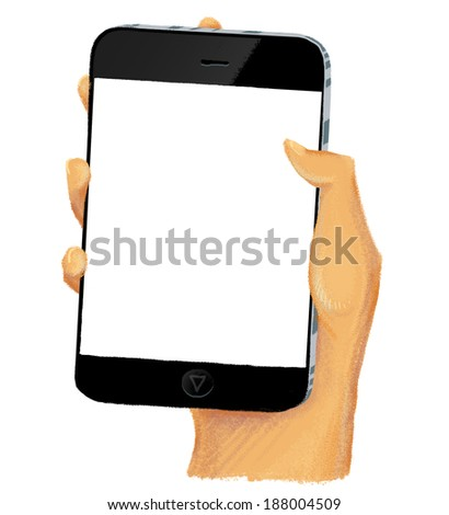 Drawn hand holding smartphone with empty screen - stock photo