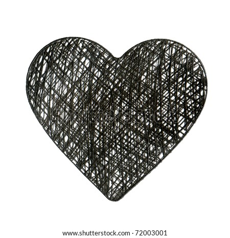Drawn hands black ink heart.