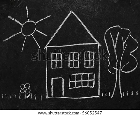 Drawn on the blackboard chalked house and a tree, sun and grass. Children drawing - stock photo