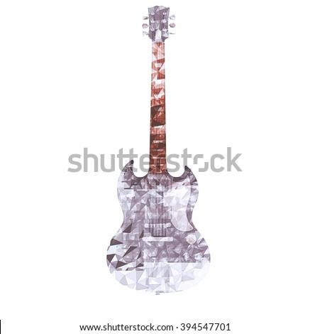 Drawn polygonal guitar - stock photo
