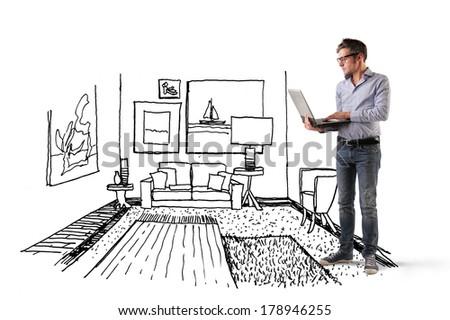 drawn room - stock photo