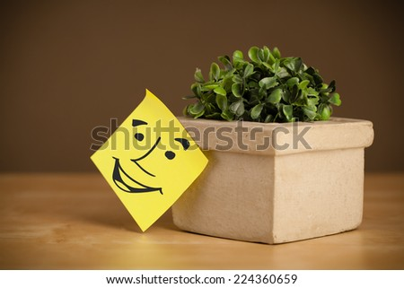 Drawn smiley face on a post-it note sticked on flowerpot - stock photo