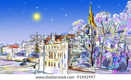 drawn to the winter old town - stock photo