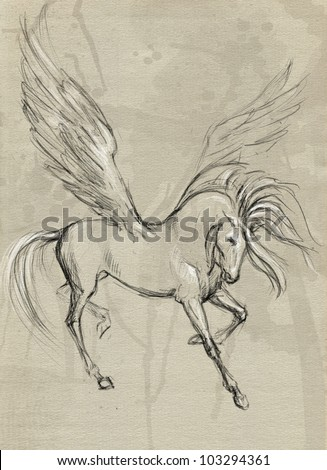 Drawn with hands on paper a winged horse Pegasus - stock photo