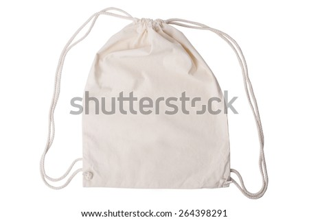 Drawstring pack template jute isolated on white with clipping path - stock photo