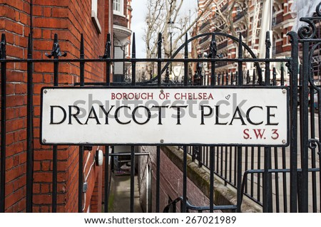 Draycott Place road sign in London, UK. - stock photo