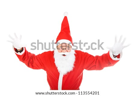 dreadful santa claus spread his hands. isolated on the white background - stock photo