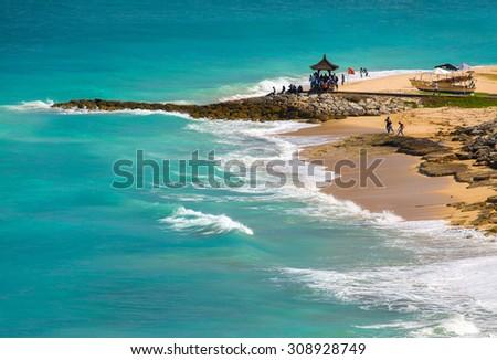 Dream beach at sunny day. Bali, Indonesia. - stock photo