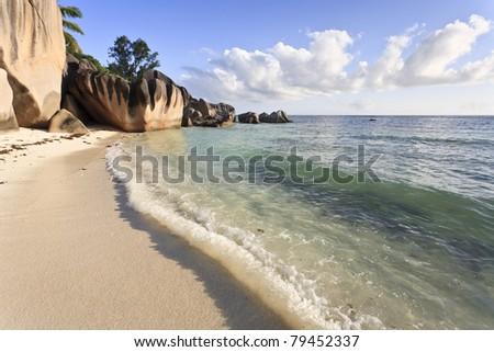 Dream beach on the island of La Digue, Seychelles, Indian Ocean - stock photo