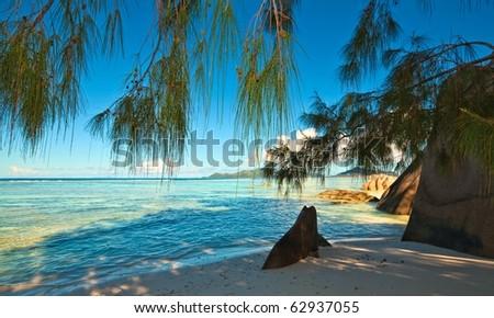Dream beach with a big stones, Seychelles, La Digue island - stock photo