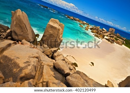 Dream beach with a huge stones, Seychelles, LaDigue island - stock photo