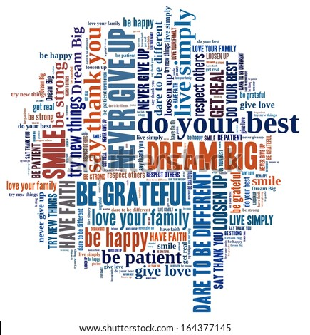 Dream Big and other positive words in word collage - stock photo