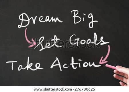 Dream big, set goals and take action words written on the blackboard using chalk - stock photo