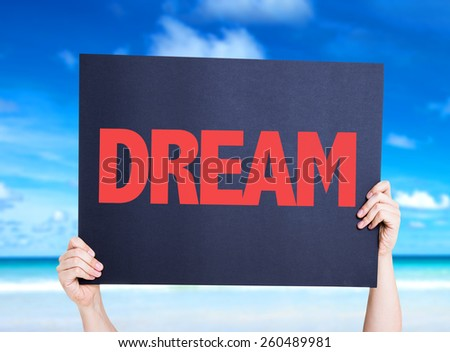 Dream card with beach background - stock photo